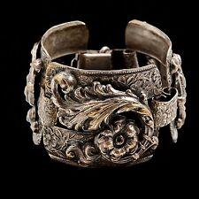Antique Vintage Nouveau Sterling Silver Plated Ornate Chased Etched Bracelet!