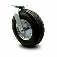 12 Inch Black Pneumatic Wheel Swivel Caster With Bolt Swivel Lock Service Caster