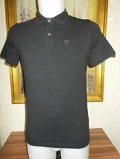 Polo  coton noir leger stretch GUESS  S logo brodé manches courtes