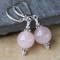 12mm Natural Pink Rose Quartz Silver plated Leverback Dangle Earrings