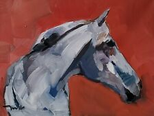 JOSE TRUJILLO Oil Painting IMPRESSIONISM 12X16 EQUESTRIAN HORSE PORTRAIT SIGNED
