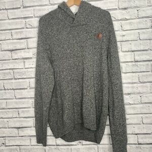 Mens Fred Perry Grey 100% Lambswool Trendy Chunky Knit Jumper Size XL