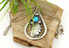Vtg Sterling Silver Signed Navajo Rita Paul Turquoise Pendant Necklace