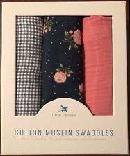 Little Unicorn 3pk cotton Muslin Swaddle Blankets - Midnight Rose Set