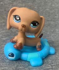 Littlest Pet Shop Dachshund Dog #518 AUTHENTIC Tan Teardrop Blue Eyes