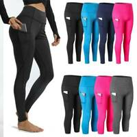 Womens Compression Tights Fitness Pants Running Sports Gym Yoga Base Layer Pants