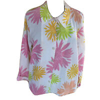 Fresh Produce Womans XL Floral Long  Sleeved Button Front 2 Pocket Tunic Blouse