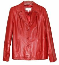 Sonoma Brick Red Lambskin Leather Womens Fitted Jacket Button Closure Size M
