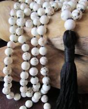 Natural magnesite white Tassels 108 Beads Necklace yoga Mala meditation