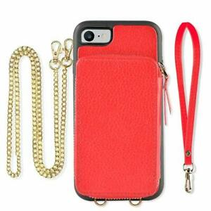 iPhone 8/7 Wallet Case Shockproof Leather Crossbody Chain Zipper Card Holder Red