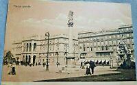 Cartolina antica Trieste Piazza Grande - viaggiata -animata primo '900 Photobrom