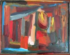 Abstract expressionist style painting. oil on board framed