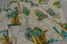 1970s Kitchen Curtain Pinch Pleat with Top Ring Turquoise Daisy Vintage 2 Panels