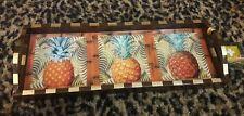 Annie Modica Pineapple Wood Serving Tropical Tray Island Life Art Bar Home Decor