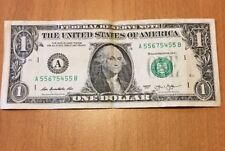 2013$1 FANCY SERIAL NUMBER # FRN Book End and LADDER up bill A 55675455 B