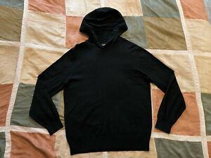 Bonobos black cotton cashmere pullover hoodie sweater sweatshirt L slim fit NEW