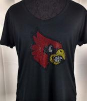 Women's Louisville Cardinals Rhinestone Football V-neck T-Shirt Tee Bling Lady