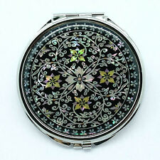 "Big 3""Compact mirror mounted with mother of pearl Four leaves & tendril plants"