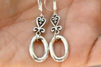 Brighton Silver Plate Openwork Heart Hammered Oval Altered Dangle Earrings