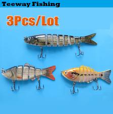 3pcs Multi Jointed Fishing Lure Bait Bass Crank Minnow Swimbait Life Like Pike
