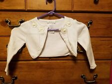 Bonnie Jean Girls Shrug Sweater Pearls & Flowers White Size 3t
