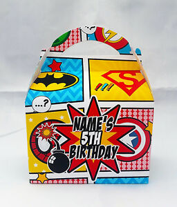 Marvel Superhero Comic Children's Personalised Party Boxes Favour