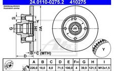 2x ATE Discos de Freno Traseros Pleno 226mm 24.0110-0275.2