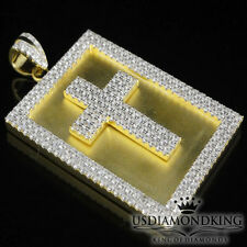 MEN'S YELLOW GOLD FINISH REAL .925 STERLING SILVER CROSS PLATE CHARM PENDANT NEW