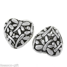 20PCs Spacer Beads Love Heart Dragonfly Carved Silver Tone 15x15mm