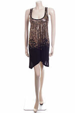 New Look Size 8 Black Gold Animal Print Evening Top Boho Dress Ladies Party