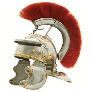 Medieval Roman Centurion Helmet Armor Removable Red Crest Plume