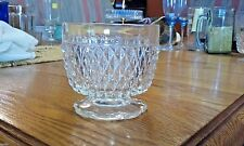 """INDIANA GLASS - DIAMOND POINT - CLEAR - 3 3/8"""" SCALLOPED FOOT OPEN SUGAR BOWL"""