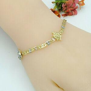 Woman Tri Color Gold Plated 3 Turtles Chain Bracelet Pulsera Oro Laminado
