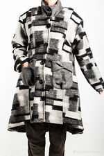 SARAH SANTOS Longjacke aus 100% Wolle | grau/schwarz | Lagenlook