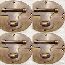 "4 large heavy HASP & STAPLE 5"" OVAL catch latch box door solid brass B"