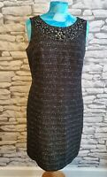 MONSOON black & silver dress SIZE 14 uk embellished beaded vintage wool style