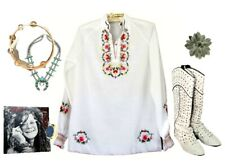 Vtg Embroidered Top Blouse Shirt White Floral Ruffle Cuff Gypsy Peasant Mexican