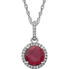 Ruby and Diamond Necklace in 14kt White Gold, July Birthstone