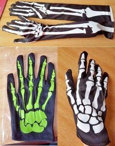 New Halloween satin Gloves  Skeleton Pattern Fancy Dress Gothic Spooky