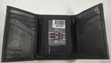 Men's RFID Blocking Security GENUINE LEATHER Black Trifold Wallet Zipper Pockets