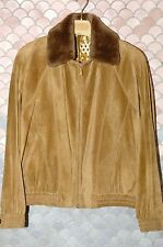 Zilli Spring/Fall calf suede jacket, removable fur collar, mint (NOS) US 46