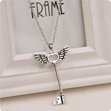 V.G Skeleton Key With Angel Wing Cross Long Chain Necklace Pendant Jewelry A-OK