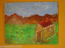 Original Modern Art Abstract Oil Painting On Canvas House and Flowers