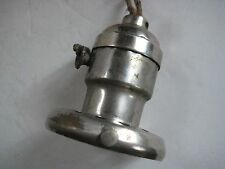 """NICKEL PLATED G. E. CHAIN PULL SOCKET WITH 2 1/4"""" UNO FITTER 1912 PATENT"""