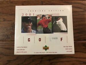 2001 Upper Deck Golf Factory Sealed RETAIL BOX Tiger Woods Rookie Card #1