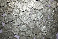 Lot of 15 MERCURY DIMES 90% Silver Coins Random Dates Shipping Discount #MDR4