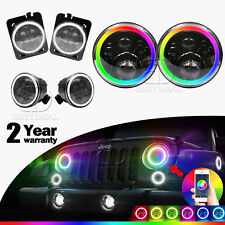 7'' Round RGB Halo LED Headlight+DRL Turn Signal&Parking Lamp Fits JEEP Wrangler
