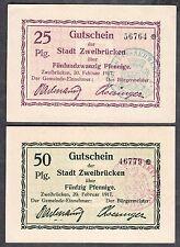 Zweibrücken -Stadt- 25 Pf. und 50 Pf., 2 Notgeldscheine vom 20.02.1917