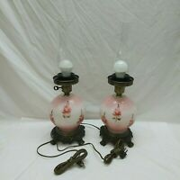 Pair HEDCO Pink Floral Gone With The Wind Handpainted Lamps 3-Way Electric