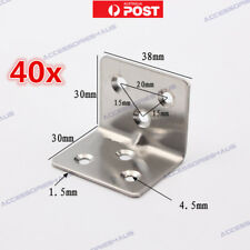 40 x Stainless Steel Corner Brace Joint Right Angle Bracket Cabinet Joinery